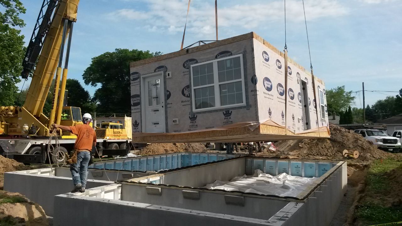 Commercial modules are placed, just like cruise ships, to assemble the home.  This saves site noise, clutter and time, plus protects all building materials from weather and moisture.